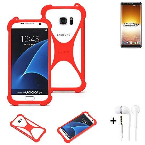 K-S-Trade® Handyhülle + Kopfhörer Für Energizer P600S Schutzhülle Bumper Silikon Schutz Hülle Cover Case Silikoncase Silikonbumper TPU Softcase Smartphone, Rot (1x),
