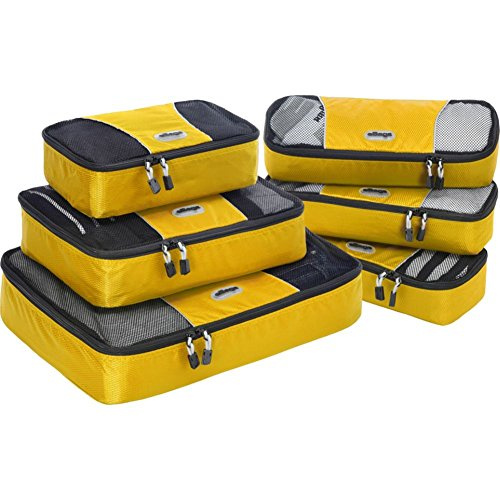 eBags Classic Packing Cubes for Travel - 6pc Value Set - (Canary)