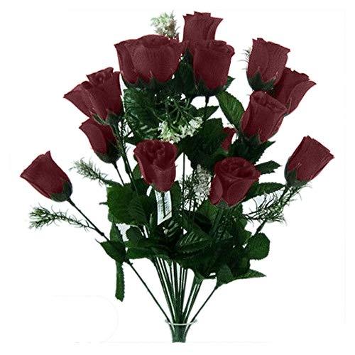 18 Têtes Fleur Artificielle Bourgogne Boutons Rose Mariages Bouquet / Sépultures