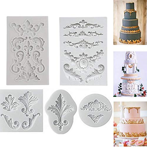Relieve Barroco Vintage Silicona Fondant Mould Lace Flower Border decoración de la magdalena Decoración Pasta de Hielo Pasta de Chocolate Para Hornear Molde Sugarcraft DIY