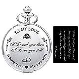 SIBOSUN Pocket Watch Wife to Husband Girlfriend to Boyfriend, Engraved'to My Love' Pocket Watch - I...