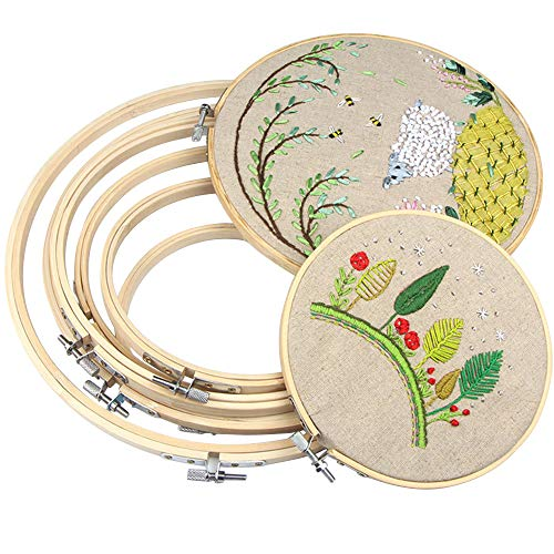 IKAIN Embroidery Hoops Bamboo Frame Cross Stitch Hoop Ring 6 Pieces 4 inch to 10 inch for Embroidery Cross Stitch and DIY Decoration
