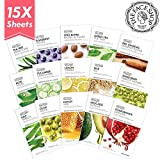 The Face Shop Facial Mask Sheets (15 Treatments), Real Nature Full Face Masks Peel Off Disposable...