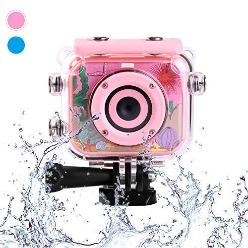 ToyZoom Bambini Macchina Fotografica 1080p HD Impermeabile Videocamera Digitale Fotocamera Bambina Bambino Subacquea Action Cam Regalo Giocattoli –Rosa