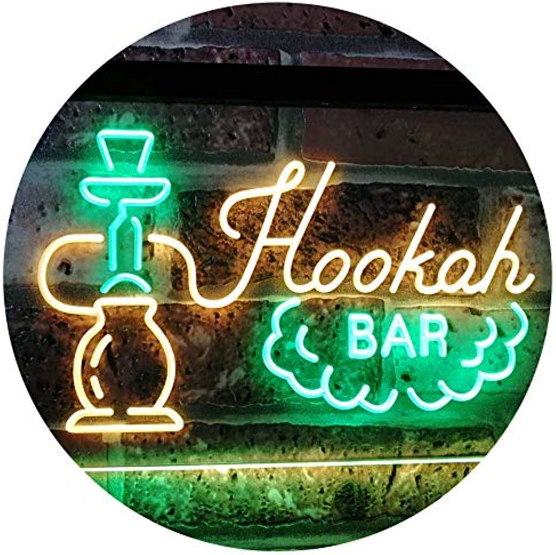ADVPRO Hookah Bar Smoke Display Dual Farbe LED Barlicht Neonlicht Lichtwerbung Neon Sign Grün & Gelb 16  x 12  st6s43-i3106-gy