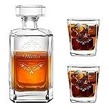 Murrano Whiskey Karaffe + 2er Whiskygläser Set mit Gravur - 700ml Whisky Dekanter - Geschenk zum Hochzeitstag für Paar - Monogramm
