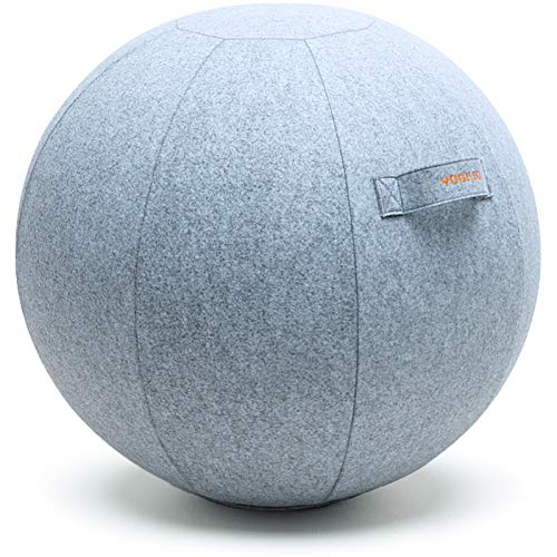 YOGIVO Sitting Ball Chair for Office and Home, Pilates Exercise Yoga Ball with Cover for Balance, Stability and Fitness, Ergonomic Posture Exercise Ball Seat with Handle and Pump (Snow, 24 in)