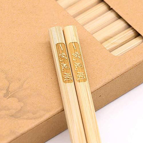 ZHOUXIAO 20 Pares De Palillos Chinos De Madera Reutilizables, Palillos De Bambú De Madera Natural De La Prima Lavavajillas para Lavavajillas, Palitos De Chop Japonesa para Su E