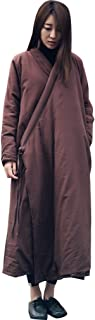 Womens Cotton Linen Long Gown Traditional Buddhist Meditation Monk Robe Wrap Dress