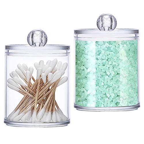 Wattestäbchen Aufbewahrung, 2 Stück Wattestäbchen Spender Cotton Wattepads Behälter Box Make-up Kosmetik Halter Organizer mit Deckel für Wattestäbchen Make-up-Schwämme (Transparent )