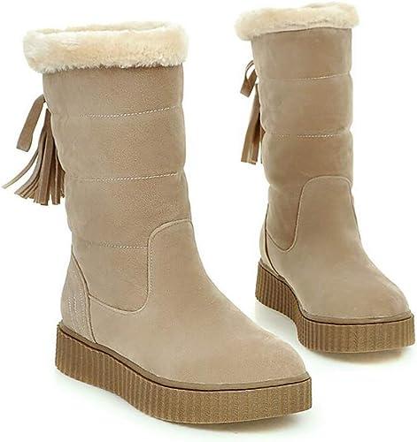 ZHRUI Stiefel de Nieve para damen schuhe de algodón de Invierno Impermeables, cálidas y acogedoras Stiefel para la Nieve, braun, 38 (Farbe   Beige, tamaño   38)