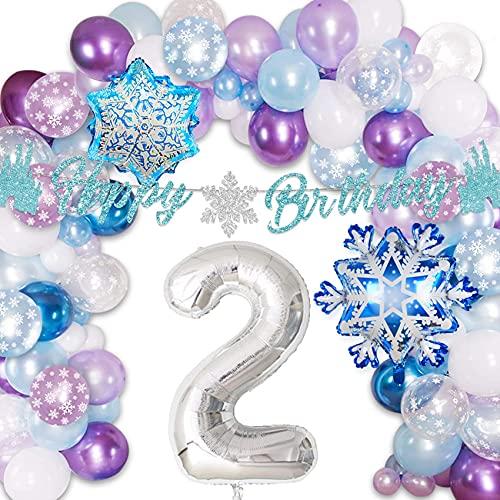 Frozen 2nd Birthday Party Supplies Girls Snowflake Balloon Garland Arch Kit Ice Princess Winter Wonderland Elsa 2 Party Decorations Purple Blue White
