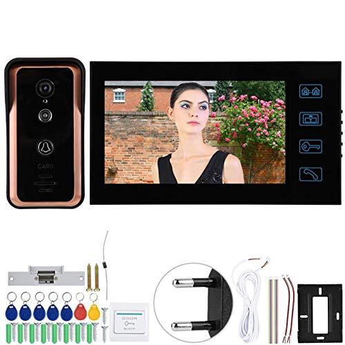 7in 1V1 Monitores Videoportero con cable Teléfono Cámara Monitor Timbre Soporte Desbloqueo de identificación y desbloqueo electrónico, para la seguridad del hogar(European standard (100-240v))