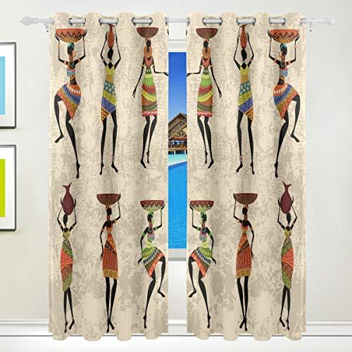 Ahomy Vorhang-Vorhänge, Afrika, tanzende Frau, wärmeisoliert, blickdicht, für Wohnzimmer, Esszimmer, Schlafzimmer, 213,3 x 139,7 cm, 2er-Set