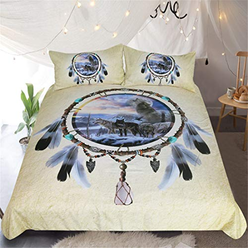 KPWHJT Dream Catcher Duvet Cover 3D Printing Double Duvet Cover King Size Duvet Covers Super Soft Hypoallergenic Microfiber Duvet Cover (Wolf pack,135 x 200 cm)