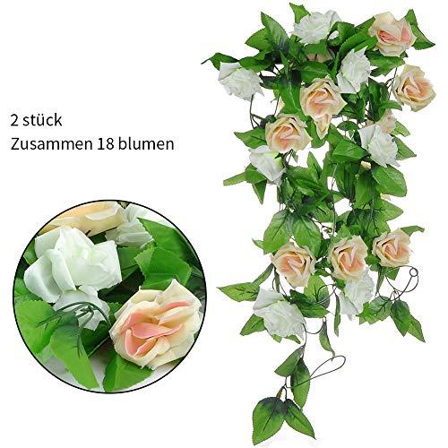 2 Stück Künstliche Rosengirlande Hängende Blumengirlande mit 9 Rose Seidenblumen mit Blättern,Hängedeko für Hochzeit,Heim,Garten,Wände,Outdoor, Indoor, Badezimmer, Länge 2.5M (Weiß+Champagner, 18Rose)