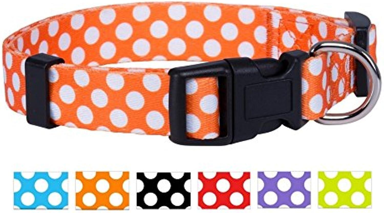 Native Pup Polka Dot Dog Collar (orange, Large)