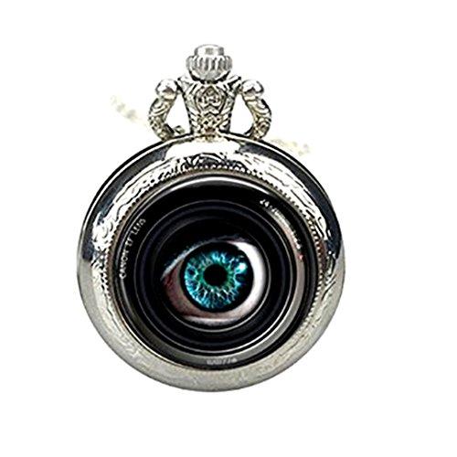 Reloj de bolsillo con lente ojo en cámara, reloj de bolsillo, joyería de fotógrafo, lente de cámara, colgante de reloj de arte