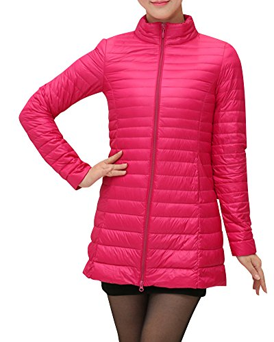 Damen Große Größen Mittellange Daunenjacke Leichte Verpackbare Bepackbare Steppjacke XL