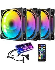 Yardwe RGB Case Fans 12 cm LED Computer Koelventilator Kleurrijke PC Fan met Muziek Controller en Moederbord Controller