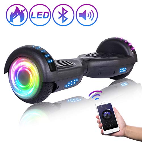 "SISIGAD Hoverboard 6.5"" Self Balancing Scooter with Colorful LED Wheels Lights Two-Wheels self Balancing Hoverboard Dual Motors Hover Board UL2272 Certified - Black"