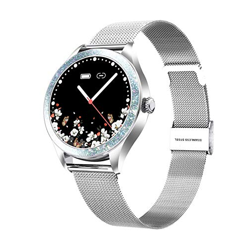 XXY Smart Watch Women Fashion Full Touch Full Touch Monitor Monitor Monitoreo Smartwatch para Lady Connect iOS Android (Color : Silver)