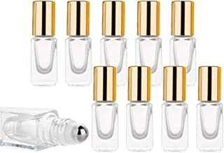 3ml Mini Clear Glass Essential Oil Roll On Bottle Fragrance Perfume DIY Make up Square Shaped Container With Stainless Steel Roller Ball Cosmetic Sample Vials-10 Pack (Golden Cap)