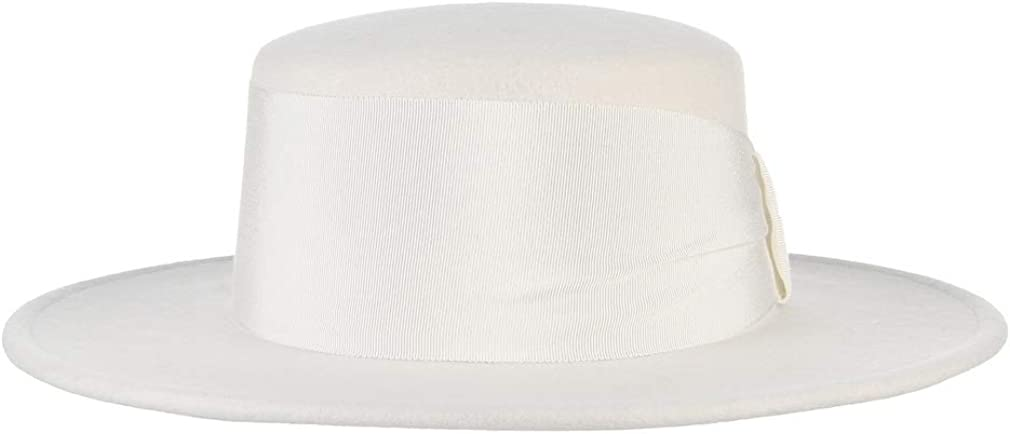 GEMVIE Womens Wool Felt Bowler Boater Hat Flat Top Fedora Hat Church Derby Hat with Ribbon Band