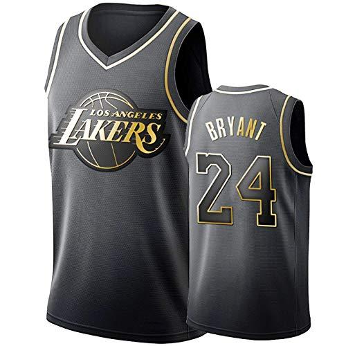 Mamba Bryant Lakers # 24 Men's Basketball Jersey, Retro Baloncesto Baloncesto Jersey Swingman Edition Unisex Sin Mangas Camiseta (S-XXL) Black Gold-S
