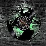 UIOLK Weltkarte LED Silhouette Hintergrundbeleuchtung Vinyl Uhr Farbwechsel Art Deco Licht...