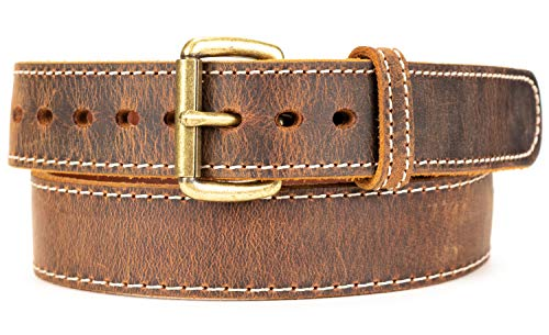 Distressed Steel Core American Bison Leather Gun Belt - 14 / 15 oz - CCW - Brown - 1.5 inch wide - USA MADE (Brown, 36)