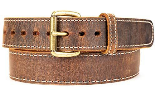 Distressed Steel Core American Bison Leather Gun Belt