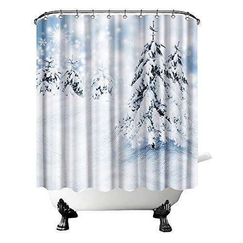Winter-Duschvorhang-Set, Kiefernbäume im Schnee, Badezimmervorhang, saisonaler Outdoor-Ski-Stoff für Badezimmer, Dekor mit Haken, 183 x 183 cm, Weiß / Blau