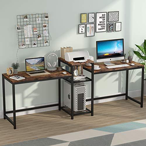 Tribesigns Computertisch, extra Langer Zwei-Personen-Schreibtisch mit Lagerregalen, Doppelarbeitsplatz, Schreibtisch für das Home Office