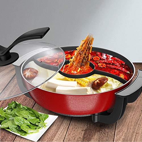 Tre elettrico Sapore Hot Pot, 6L grande capacità Shabu Shabu Pot Elettrico multifunzionale Indoor Hot Pot per 1-8 Person