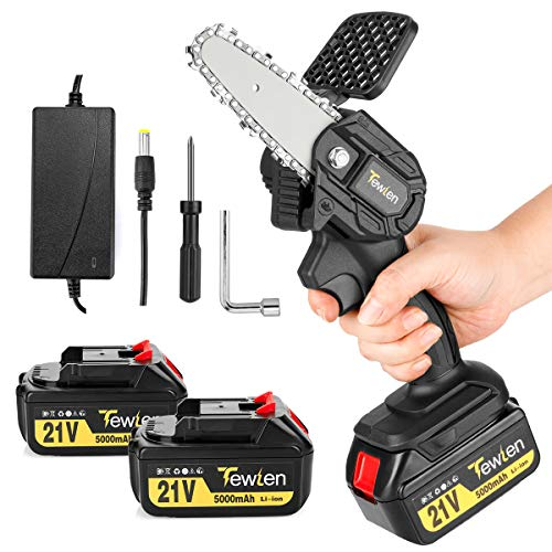 Mini Chainsaw Cordless Upgrade, TEWLEN 4-Inch 21V 5000mAh Electric Chainsaw Handheld Pruning Shears Chainsaw with 2PCS Batteries Rechargeable Cordless Power Chain Saw for Tree Branch Wood Cutting