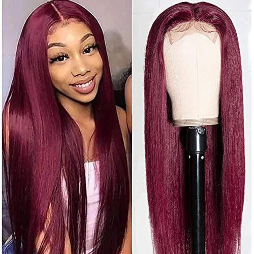 Unice Hair Straight Burgundy T Part Lace Closure Human Hair Wigs Red Color Middle Part, Brazilian Virgin Hair Silk Base Fake Scalp Pre Plucked 99J Wig for Black Women 150% Density 20 inch