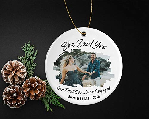 Decorations She Said Yes Engaged Christmas Ornament - Personalized Engagement Announcement Gift for Family from Newly Engaged Couple Item Decorative Wall Art for Christmas and Holidays