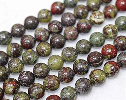 Lot de 47 perles rondes en jaspe de sang de dragon naturel de 4 mm, 6 mm, 8 mm, 10 mm, 12 mm