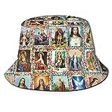 Bokueay Imágenes de Santos católicos Collage Outh Sombrero de Cubo Reversible Viajes al Aire Libre Pesca Caza Sombrero para el Sol