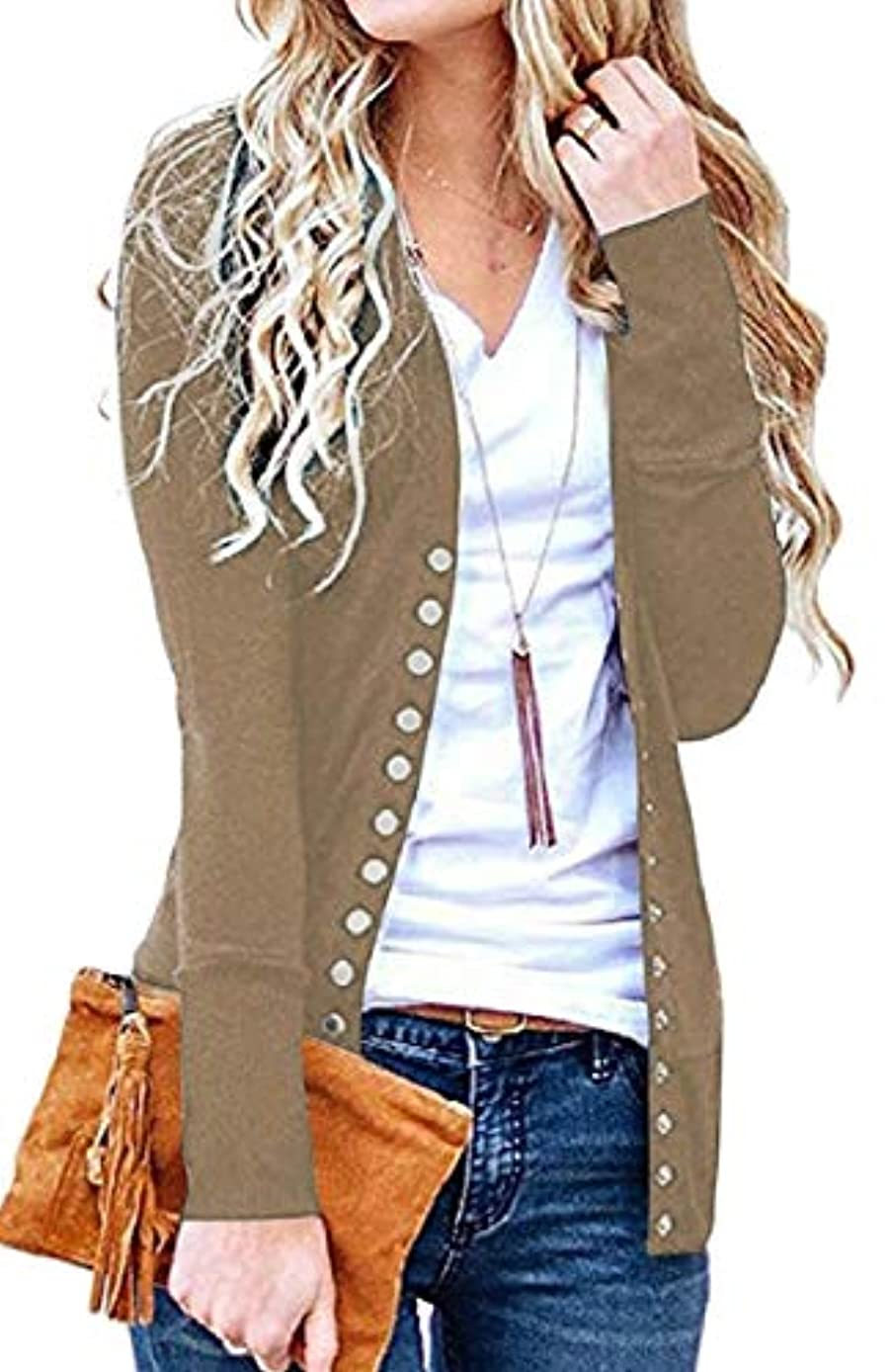 FLCH+YIGE Womens Casual Snap Button Front Knitwear Stretchy Slim Cardigan Jackets