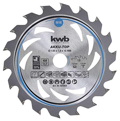 kwb 581854 AKKU-TOP Energy-Saving cirkelzaagblad Easy Cut, Ø 130 x 16 mm dunne snede met speciale wisseltand 18 tanden Z18
