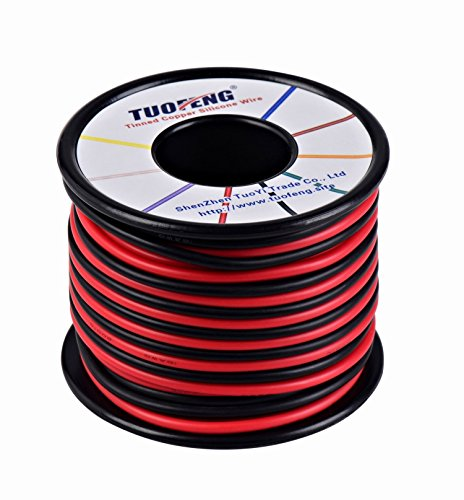 TUOFENG 16 AWG Wire, 20 m silicone wire Soft and Flexible Tinned copper wire High temperature resistance 2 separated wires 10 m Black and 10 m Red Stranded Wire for 3D printer, test leads,RC appli