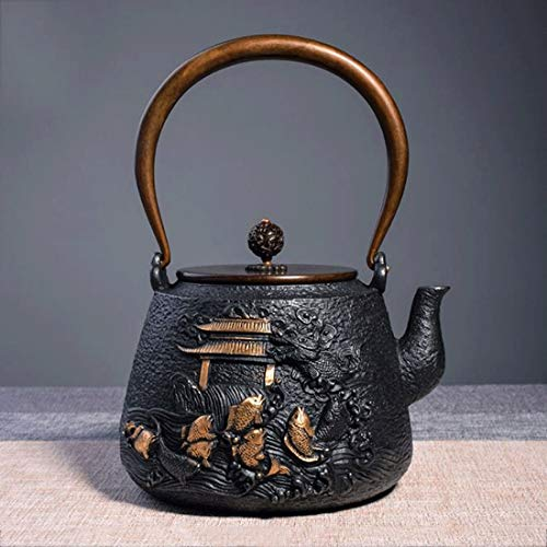 Tea Pot, Japanese Cast Iron Tea Kettle, Small Vintage Heat Resistant Tea Maker for Loose Leaf Tea, for Party Office Home, 1.4L