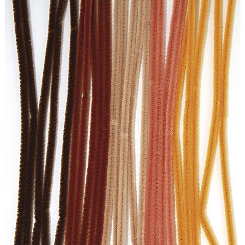 Rayher 5211100 Chenilledraht, 30 cm, SB-Btl. 25 Stück, Stärke 6 mm, braun-Töne, sortiert