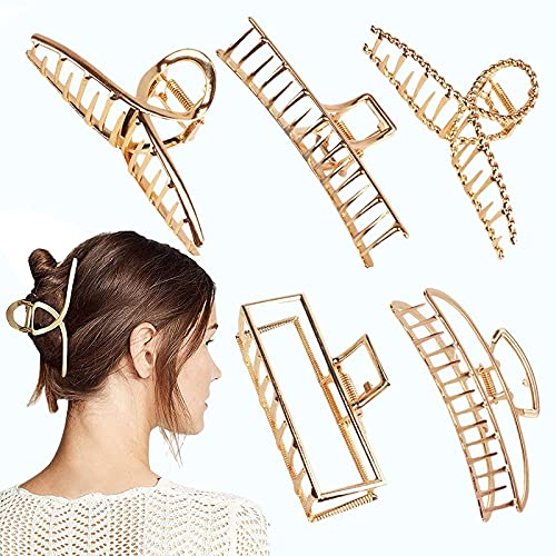 4.7 Inch Large Gold Metal Hair Clips,5PCS Big Hair Claw Clips Strong Jaw Clip Non-Slip Hair Barrettes Clamp for Thick Hair Cute Hair Accessories,Half Bun Hair Clip for Women Girls