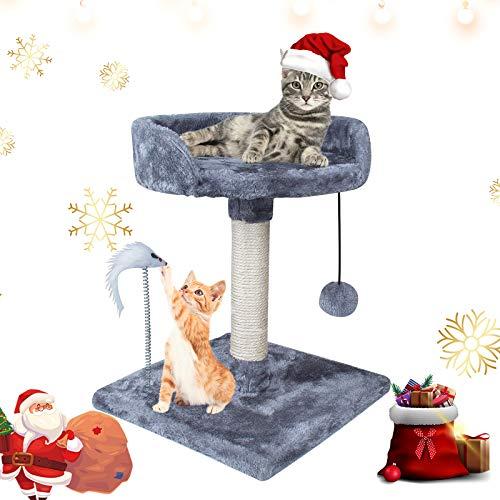 67i 猫用 キャットタワー ネコタワー ミニ型 爪とぎ 玩具付き 昼寝タワー 猫のおもちゃ コンパクト 組立簡単 (グレー)
