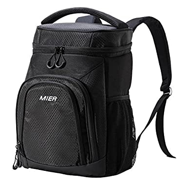 MIER Insulated Cooler Backpack Leakproof Soft Cooler Lunch, Picnic, Hiking, Beach, Park, 24Can, Black