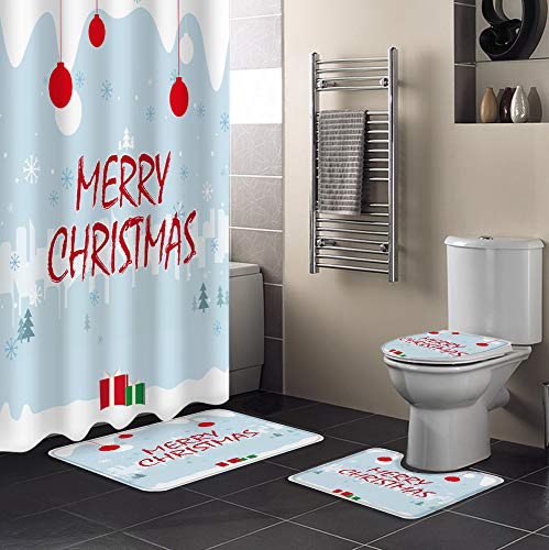 Roses Garden 4 Pcs Shower Curtain Sets with Non-Slip Rug, Toilet Lid Cover & Bath Mat, Merry Christmas Desk Chair Decoration Durable Waterproof Shower Curtain with 12 Hooks for Bathroom, 72 x 72 inch
