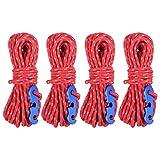 Azarxis Tensores y Cuerdas Reflectantes para Tienda de Campaña de 4 Paquetes Ligera para Atar Lonas Tienda de Campaña Refugio al Aire Libre (Rojo)